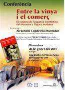 """cartell de la presentació del llibre """" Entre la vinya i el comerç. Els orígens de l'expansió econòmica del Maresme a l'època moderna"""""""